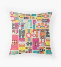VIntage camera pattern wallpaper design Throw Pillow