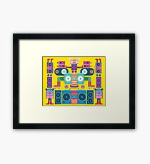 funny and cute vector boombox face pattern Framed Print