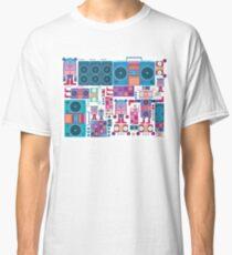 robot boom box tape music vector pattern Classic T-Shirt