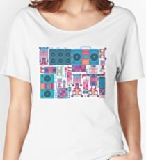 robot boom box tape music vector pattern Women's Relaxed Fit T-Shirt