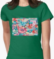 vector colorful random monster face pattern Women's Fitted T-Shirt