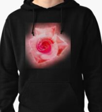 Digitally enhanced orange rose flower with green foliage background  Pullover Hoodie