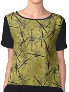 Squiggles And Lines In Gold And Brown Design Women's Chiffon Top
