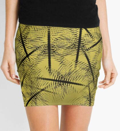 Squiggles And Lines In Gold And Brown Design Mini Skirt