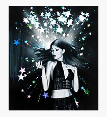Dancing girl on stars background 2 Photographic Print