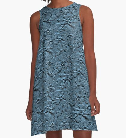 Slate Blue Daisy Flowers Design A-Line Dress