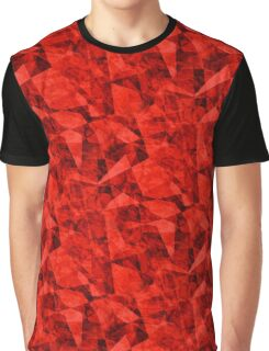 Bright Red Cubes Geometric Design Graphic T-Shirt