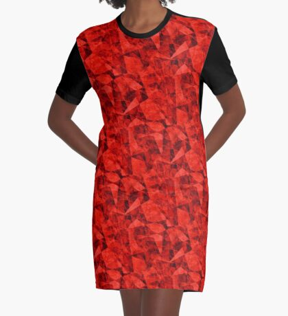 Bright Red Cubes Geometric Design Graphic T-Shirt Dress