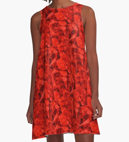 Bright Red Cubes Geometric Design A-Line Dress