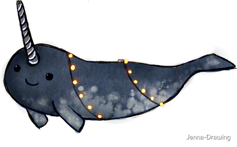 Quot Cute Narwhal Wrapped In Fairy Lights Quot Stickers By Jenna