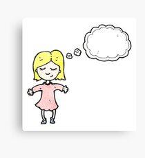 cartoon blond girl thinking Canvas Print