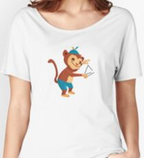 Cute cartoon monkey playing triangle Women's Relaxed Fit T-Shirt