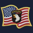 101st ABN Patch and American Flag by Walter Colvin