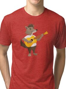 Cute wolf playing music with guitar Tri-blend T-Shirt