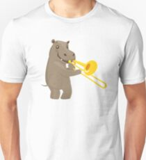 Funny hippo playing music with trombone T-Shirt