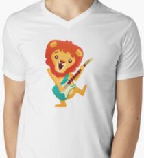 Cartoon lion playing music with electric guitar T-Shirt