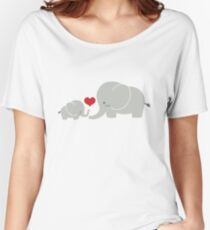 Baby and parent elephant with heart Women's Relaxed Fit T-Shirt