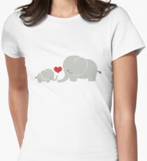 Baby and parent elephant with heart Women's Fitted T-Shirt