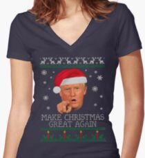Make Christmas GREAT AGAIN Women's Fitted V-Neck T-Shirt