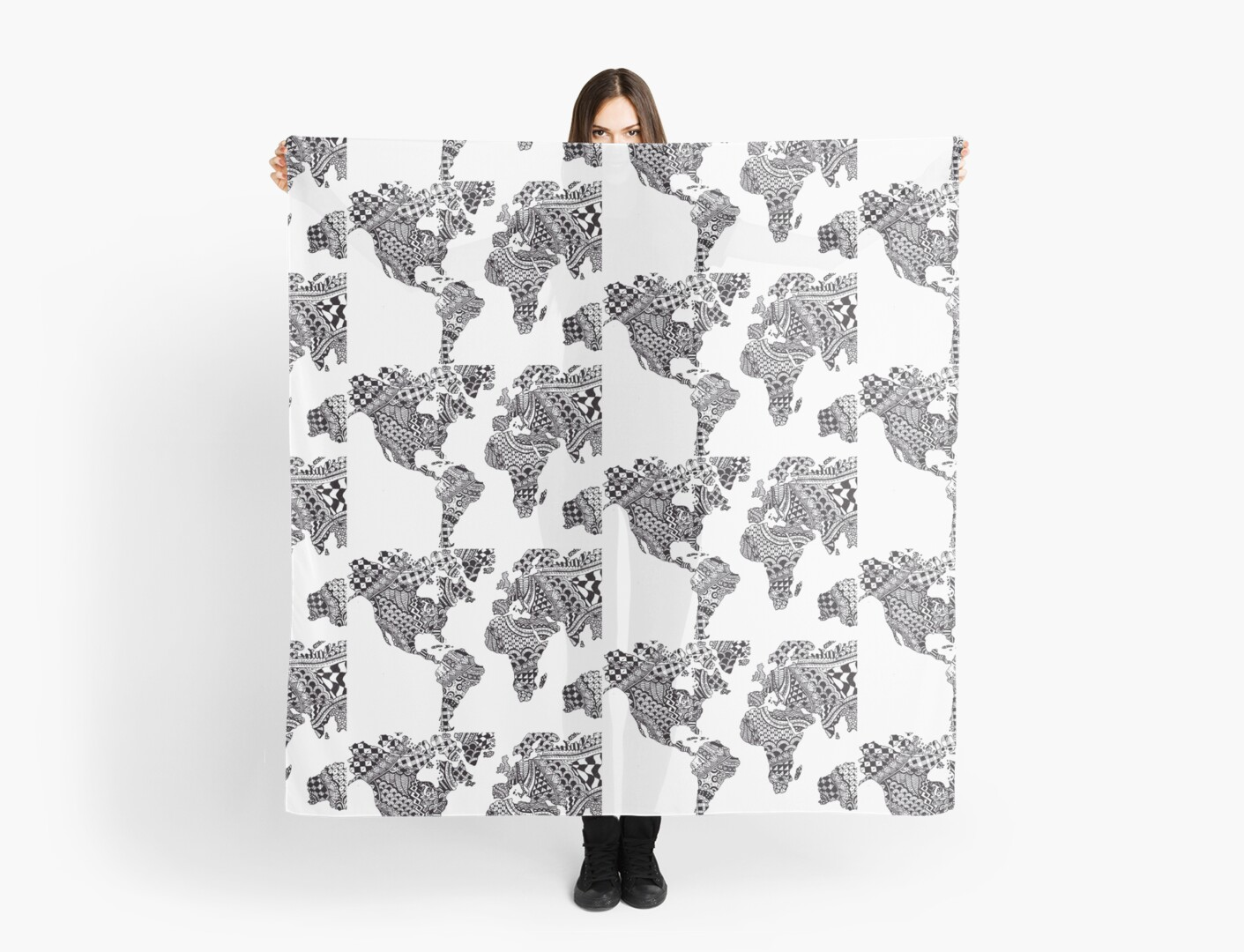 Zentangle world map scarves by ally gracie redbubble zentangle world map by ally gracie gumiabroncs Images