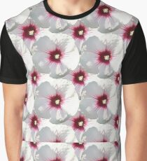 Natural Flowers Series - White and Violet Hisbiscus Graphic T-Shirt