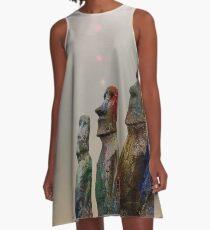 Sacred Places - Easter Island Rapa Nui Moai Figures A-Line Dress
