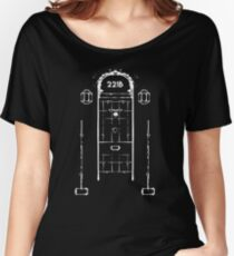 Sherlock, Front Door of 221B Baker Street (B&W) Women's Relaxed Fit T-Shirt