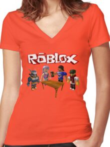 Roblox Friends Women's Fitted V-Neck T-Shirt