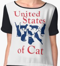 United States of Cat Funny Humorous USA Map Women's Chiffon Top