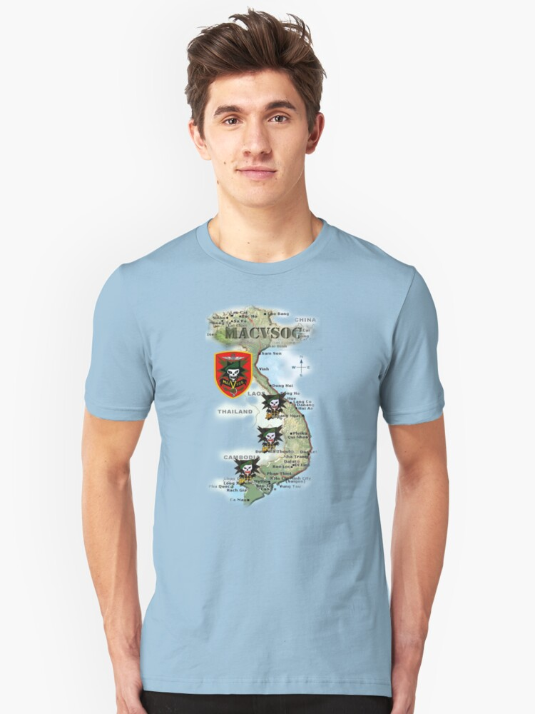 Map of MacVsog's area of operation. Unisex T-Shirt Front