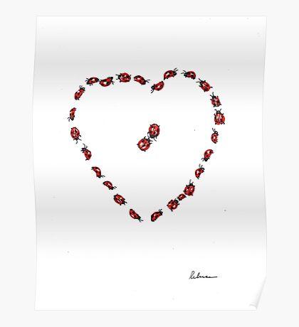 Hello Sweetheart - Little Ladybugs Heart Drawing Poster