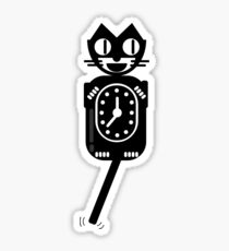 KITTY CLOCK Vintage Cat Flat Style Sticker