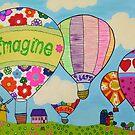 Hot Air Ballons, Imagine, Believe, Learn, Shine, Love, Dream, glitter effect by ColouredDays