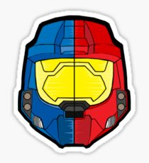 Red vs Blue Helmet Sticker