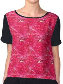 Natural Blooming Flowers - Red Camellias Chiffon Top
