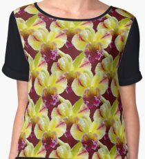 Natural Blooming Flowers - Yellow and Violet Cattley Orchids Women's Chiffon Top