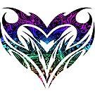 Trippy Tribal Heart Mandala by Adamhass