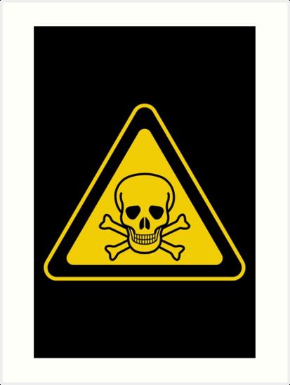 poison symbol warning sign yellow black triangular art prints