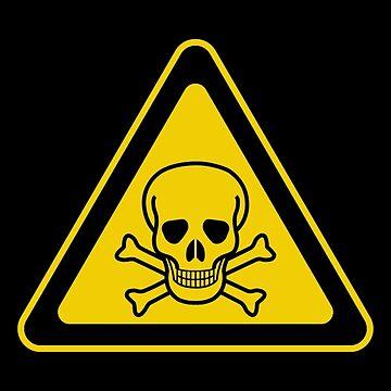 Poison Symbol Warning Sign - Yellow & Black - Triangular by graphix