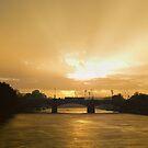 Sunrise Shower - Princes Bridge Melbourne Australia by Norman Repacholi