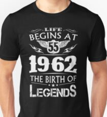 Life Begins At 55 1962 The Birth Of Legends T-Shirt