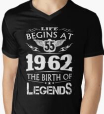 Life Begins At 55 1962 The Birth Of Legends Mens V Neck T Shirt