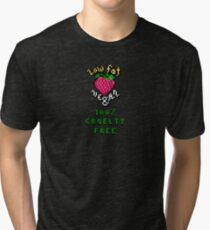 Low Fat Vegan (strawberry heart) Tri-blend T-Shirt