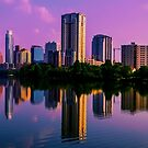 Austin , Texas Skyline with Brilliant Colorful Reflection by Roschetzky
