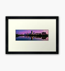 Austin , Texas Skyline with Brilliant Colorful Reflection Framed Print