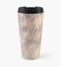 Top view of the surface of the fresh stump with annual rings Travel Mug