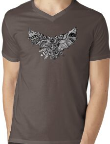 Geometric Owl Pattern Mens V-Neck T-Shirt