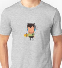 hipster  character with skateboard , listening music Unisex T-Shirt