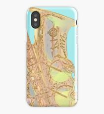Edgey Saxophone: Selmer and Blue iPhone Case/Skin