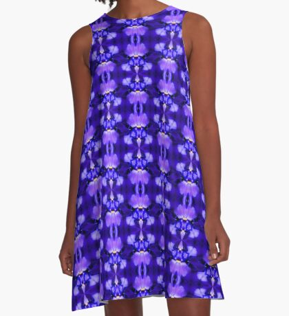 Blue Iris Flower Abstract Design A-Line Dress